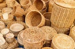 Cesta de bambú Imágenes de archivo libres de regalías