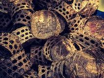 Cesta de bambú para la pila del vapor Fotografía de archivo libre de regalías