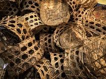 Cesta de bambú para la pila del vapor Foto de archivo libre de regalías
