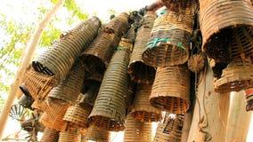 A cesta de bambu pequena Imagens de Stock Royalty Free