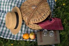 Cesta de comida campestre Foto de archivo libre de regalías