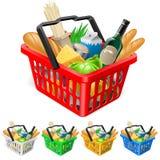Cesta de compra com alimentos. Fotografia de Stock Royalty Free