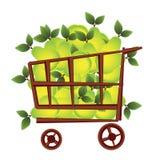 Cesta de compra com frutas ilustração royalty free