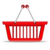 Cesta de compra vermelha Fotografia de Stock Royalty Free