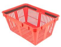 Cesta de compra vermelha vazia fotografia de stock
