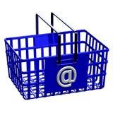 Cesta de compras azul con la muestra @ Imágenes de archivo libres de regalías