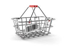 Cesta de compras con el código de barras Fotografía de archivo libre de regalías