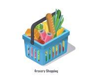 Cesta de compras con la comida fresca y la bebida Compre el ultramarinos en el supermercado Ejemplo isométrico del vector Foto de archivo libre de regalías