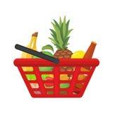 Cesta de compras con los alimentos Ilustración de la historieta del vector Imagen de archivo libre de regalías