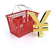 Cesta de compras con los yenes - Yuan Symbol Imagen de archivo libre de regalías