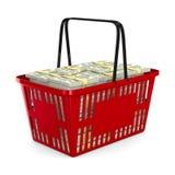 Cesta de compras roja con el dinero en el fondo blanco 3D aislado Fotografía de archivo libre de regalías
