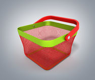 Cesta de compras vacía Render aislada en la pendiente gris 3D Illust Foto de archivo libre de regalías