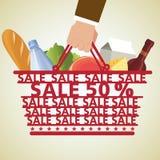 Cesta de compras y comida, verdura Foto de archivo