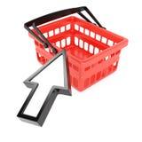 Cesta de compras y cursor el señalar Imágenes de archivo libres de regalías