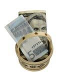 Cesta de dinero en circulación Imágenes de archivo libres de regalías