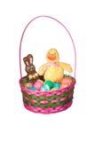 Cesta de Easter com ovos e doces Imagens de Stock