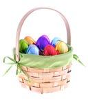 Cesta de Easter com ovos iridescent fotos de stock
