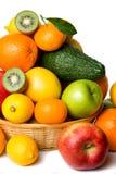 Cesta de fruta no fundo branco Fotografia de Stock Royalty Free