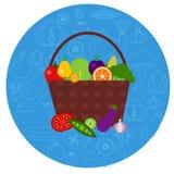 Cesta de frutas y verduras en forma redonda Foto de archivo libre de regalías