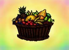 Cesta de fruto abundante (2014) Imagem de Stock