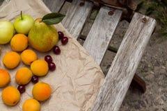 A cesta de fruto está no banco Imagem de Stock Royalty Free