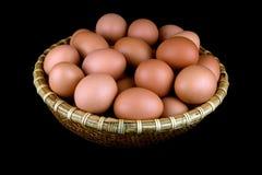 Cesta de huevos de gallinas frescos en fondo negro imagen de archivo