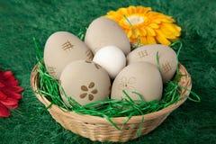 Cesta de huevos de Pascua con los modelos pintados Imágenes de archivo libres de regalías