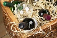 Cesta de la comida campestre con el vino Fotografía de archivo