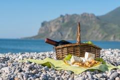 Cesta de la comida campestre con el vino, el queso y las uvas Imágenes de archivo libres de regalías