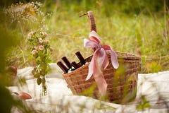 Cesta de la comida campestre con el vino en un claro del bosque en día soleado caliente Foto de archivo libre de regalías