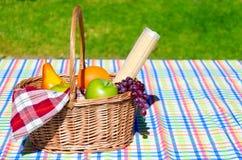Cesta de la comida campestre con las frutas Imágenes de archivo libres de regalías
