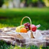 Cesta de la comida campestre con las frutas, la comida y agua en la botella de cristal Imagen de archivo libre de regalías