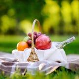 Cesta de la comida campestre con las frutas, la comida y agua en la botella de cristal Imagen de archivo