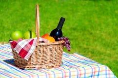 Cesta de la comida campestre con las frutas y el vino Fotografía de archivo libre de regalías