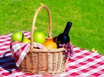 Cesta de la comida campestre con las frutas y el vino Foto de archivo
