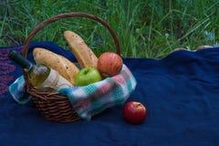 Cesta de la comida campestre en la alfombra azul en naturaleza Flores amarillas, appl Imagenes de archivo