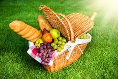 cesta de la comida campestre en hierba en parque Fotografía de archivo libre de regalías