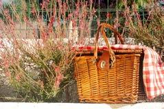 Cesta de la comida campestre en la pared con las flores y el paño rojos Foto de archivo