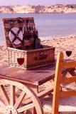 Cesta de la comida campestre en la playa Fotografía de archivo