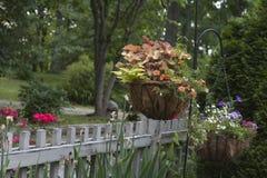 Cesta de la ejecución de flores Foto de archivo libre de regalías
