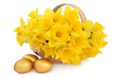 Cesta de la flor de Pascua Fotografía de archivo