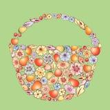 Cesta de la fruta y de las flores Foto de archivo libre de regalías