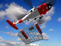 Cesta de la mosca del guardacostas del helicóptero imágenes de archivo libres de regalías