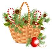 Cesta de la Navidad Imágenes de archivo libres de regalías