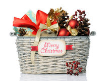 Cesta de la Navidad Foto de archivo
