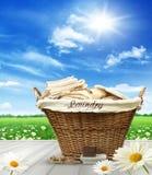 Cesta de lavanderia com roupa na tabela rústica contra o céu azul Fotografia de Stock Royalty Free