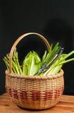 Cesta de lingüeta tecida vintage de vegetais verdes orgânicos Fotos de Stock Royalty Free
