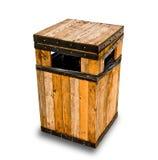 A cesta de lixo de madeira Fotografia de Stock Royalty Free