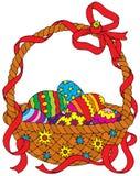Cesta de los huevos de Pascua Fotos de archivo libres de regalías
