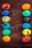 Cesta de los huevos de Pascua Fotos de archivo